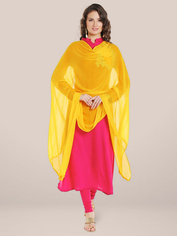Yellow Chiffon Dupatta with lace