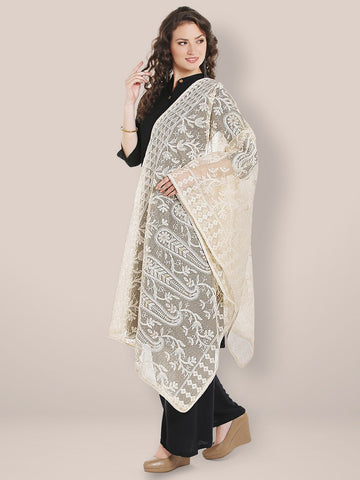 Dupatta Bazaar Women's Ivory Cotton dupatta with Lucknowi Embroidery