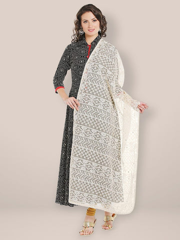 Dupatta Bazaar Women's Off White Cotton dupatta with Lucknowi Embroidery