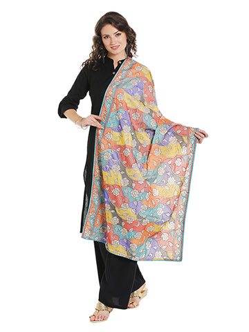 Dupatta Bazaar Women's Multicoloured Silk dupatta with all over Katha Embroidery - Dupatta Bazaar