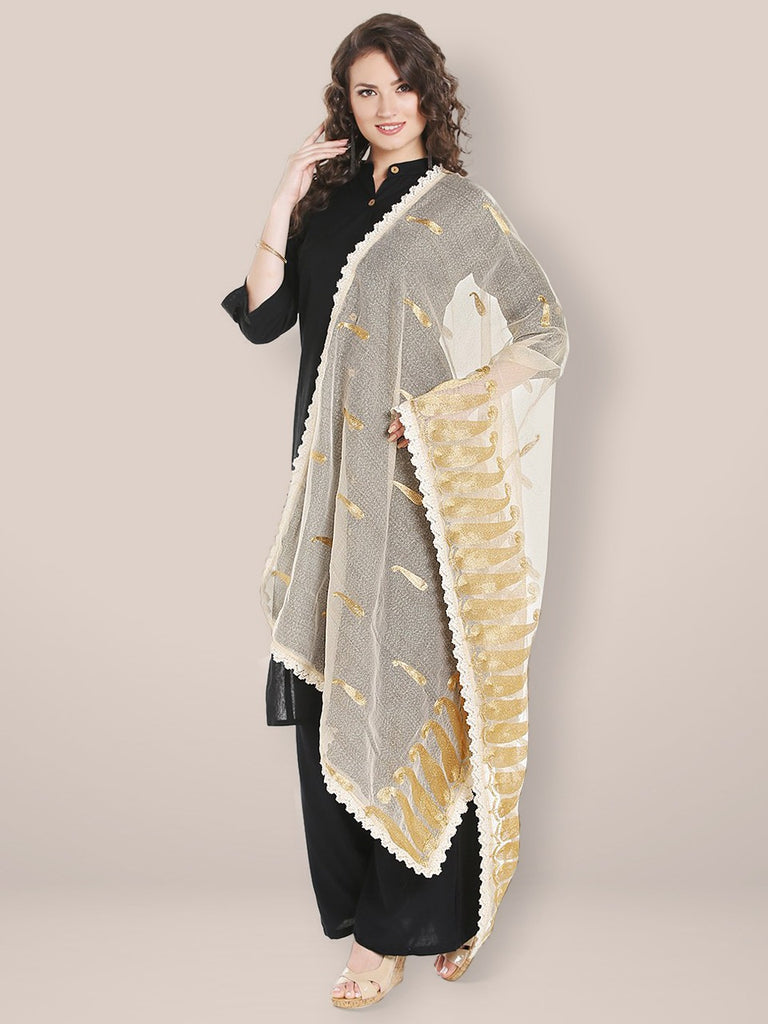 Ivory Cotton dupatta with Golden Paisley Embroidery