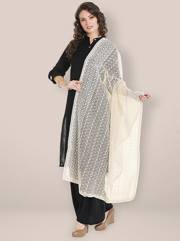 Dupatta Bazaar Women's Off White Cotton dupatta with all over Embroidery