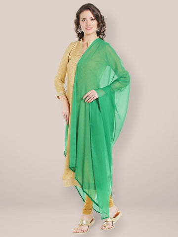 Green Chiffon Dupatta with Beaded Lace
