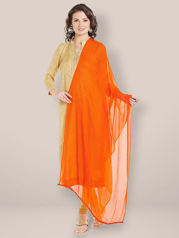 Dupatta Bazaar Woman's Orange Chiffon Dupatta with Beaded Lace - Dupatta Bazaar