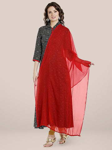 Dupatta Bazaar Women's Red Chiffon Dupatta with lace.