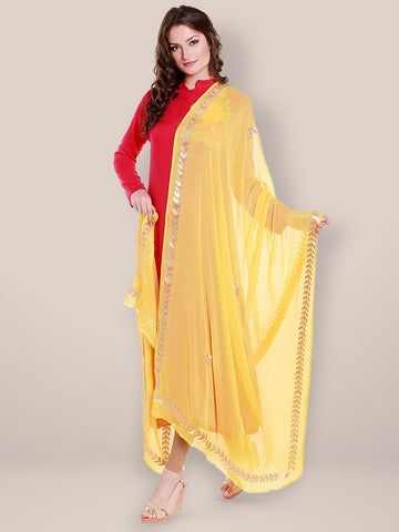 Dupatta Bazaar Women's Yellow Chiffon Dupatta with Gold Gotta Patti Work. - Dupatta Bazaar