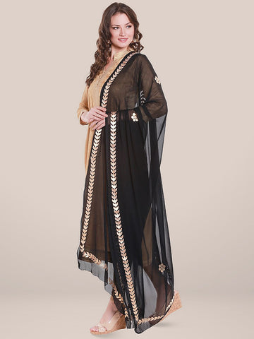 Black Chiffon Dupatta with Gold Gotta Patti Work.