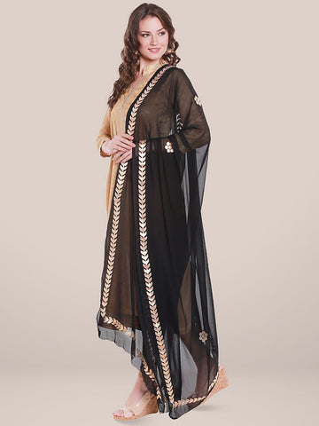 Dupatta Bazaar Women's Black Chiffon Dupatta with Gold Gotta Patti Work. - Dupatta Bazaar