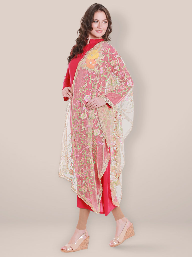 Gold Net Dupatta with Multicoloured Embroidery.