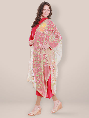 Gold Net Dupatta with Multicoloured Pastel Embroidery.