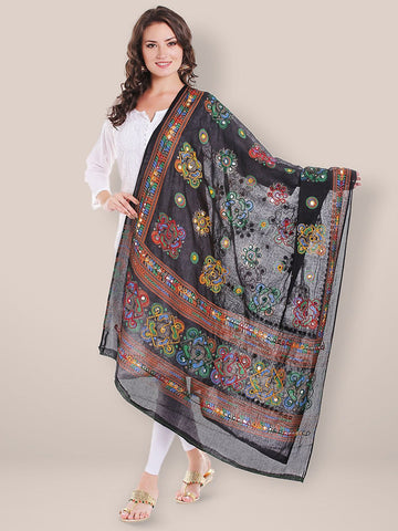 Block Printed Cotton Black Dupatta with Aari & Mirror work.