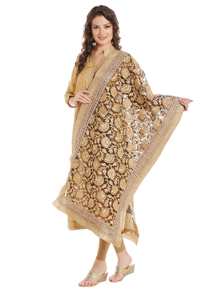 Dupatta Bazaar Women's Black Designer Net Dupatta with all over Gold Gotta Work Design . - Dupatta Bazaar
