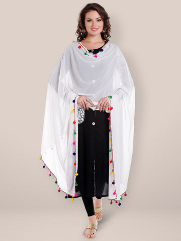 White Chiffon Dupatta with Multicoloured Pompom