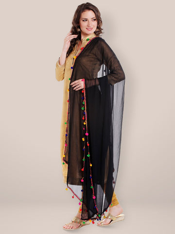 Black Chiffon Dupatta with Multicoloured Pompom