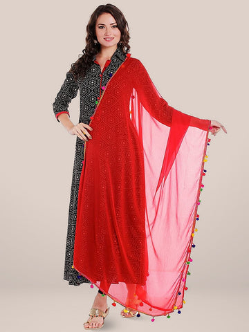 Red Chiffon Dupatta with Multicoloured Pompom