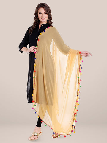Beige Chiffon Dupatta with Multicoloured Pompom