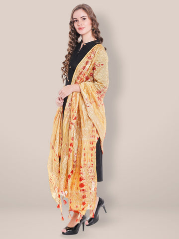 Printed Beige & Red Silk Dupatta