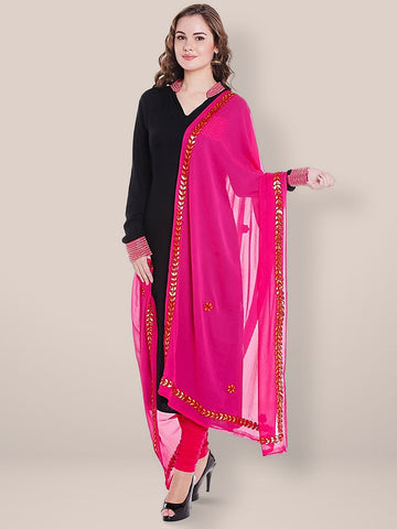 Pink Chiffon Dupatta with Gold Gotta Patti Work.