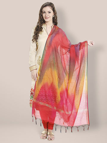 Dupatta Bazaar Woman's Multicoloured Shaded Silk Dupatta