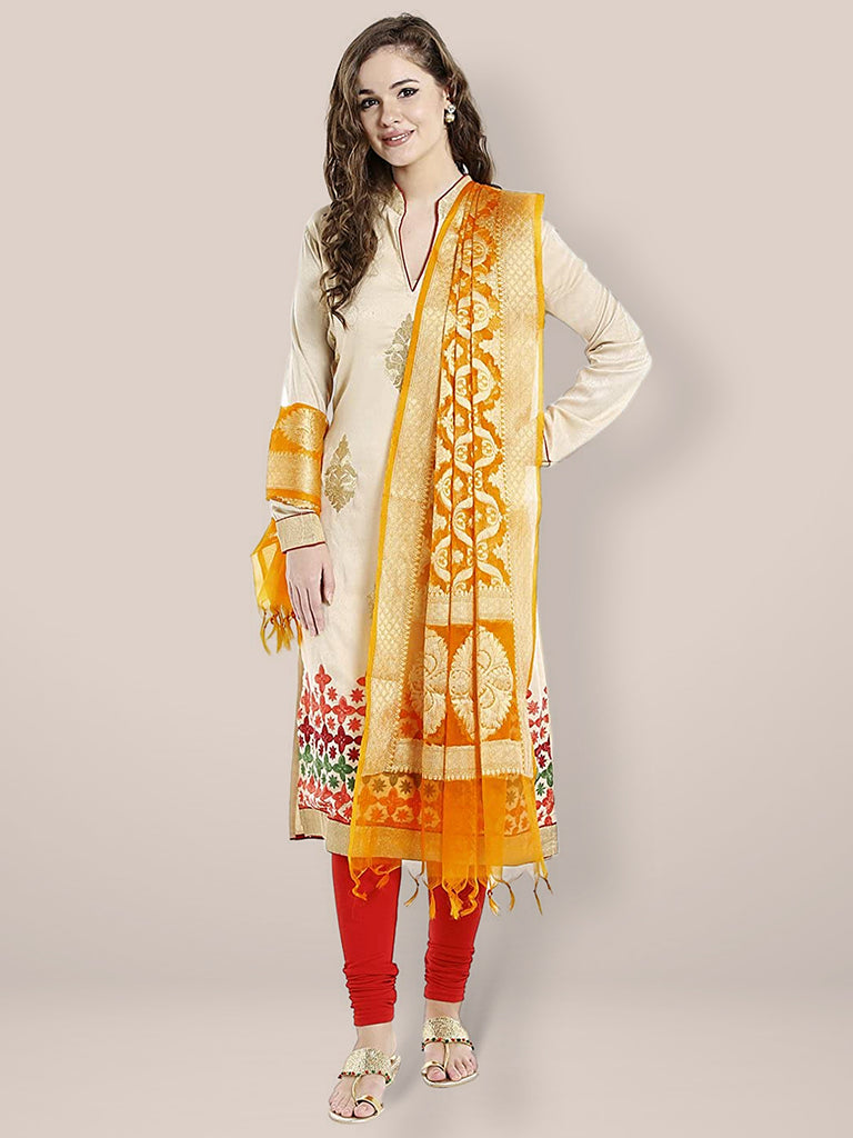 Orange & Gold Woven Banarasi Dupatta