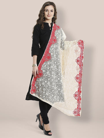 Dupatta Bazaar Woman's Off White & Red Cotton Net Dupatta with all over Embroidery.