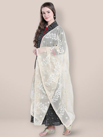 Dupatta Bazaar Woman's Off White Dupatta with Lucknowi Embroidery.