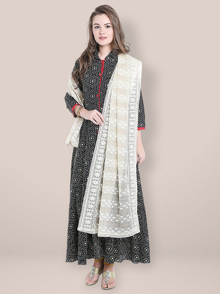 Ivory Dupatta with Lucknowi Embroidery.