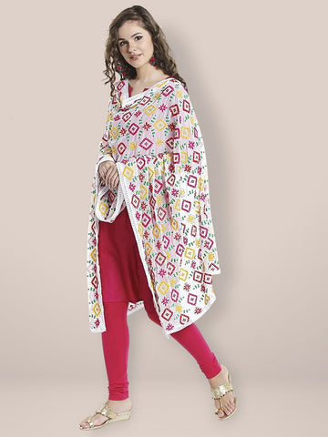 White & Multicoloured Phulkari Embroidered Chiffon Dupatta