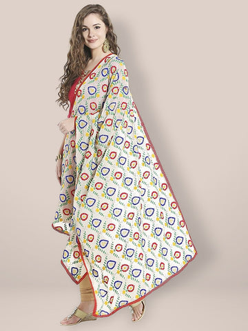 Multicoloured and Beige Embroidered Phulkari Chiffon Dupatta