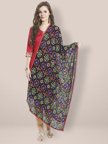 Black and Multicoloured Embroidered Chiffon Phulkari Dupatta