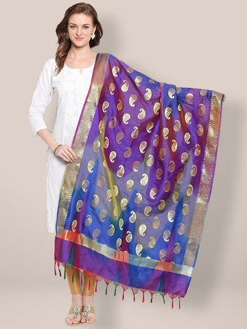 Dupatta Bazaar Woman's Blue, Purple & Gold Shaded Banarasi Silk Dupatta - Dupatta Bazaar