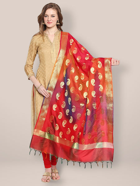 Dupatta Bazaar Woman's Red & Gold Shaded Banarasi Silk Dupatta - Dupatta Bazaar