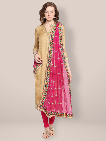 Pink Chiffon Dupatta with Phulkari Border
