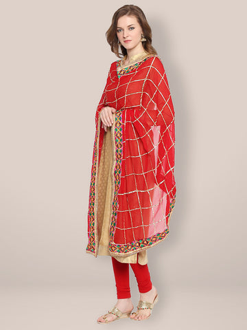 Red & Gold Phulkari Border Dupatta