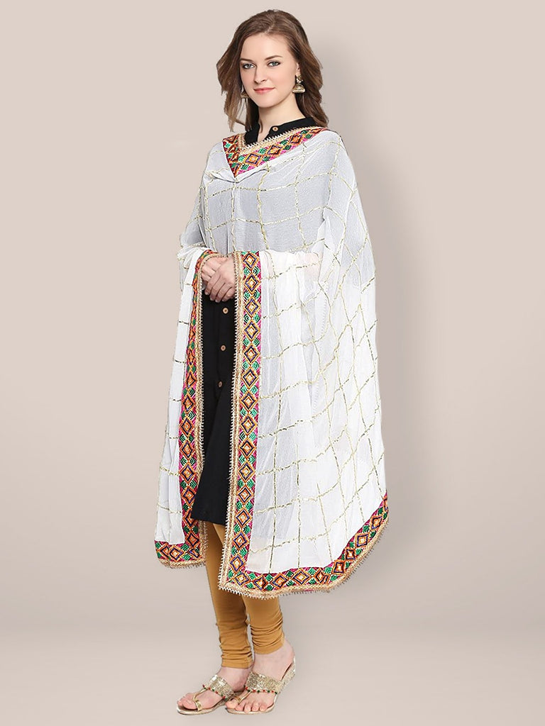 White Chiffon Dupatta with Phulkari Border