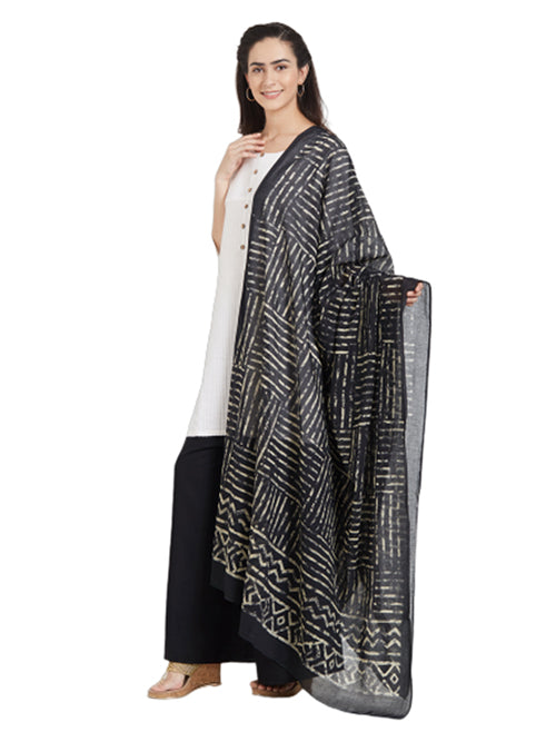 Dupatta Bazaar Woman's Cotton Black & Off White Block Printed Dupatta - Dupatta Bazaar