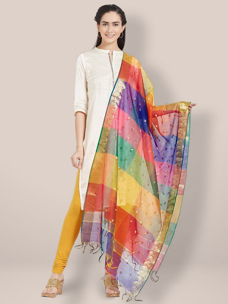 Multicoloured Silk Dupatta