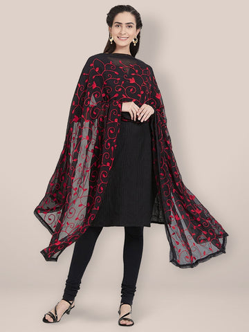 Dupatta Bazaar Woman's Black Chiffon Dupatta with Red Aari Work. - Dupatta Bazaar