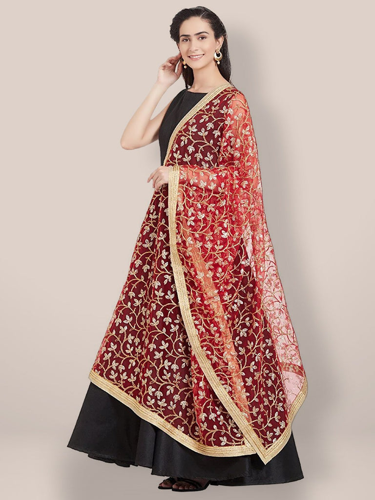 Red & Golden Net floral Embroidered Dupatta