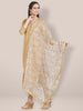 White & Gold Embroidered Net Dupatta
