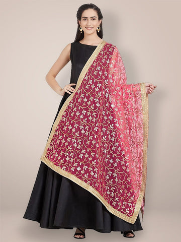 Peach & Gold Embroidered Net Dupatta
