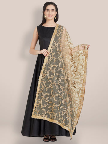 Golden Net Embroidered Dupatta
