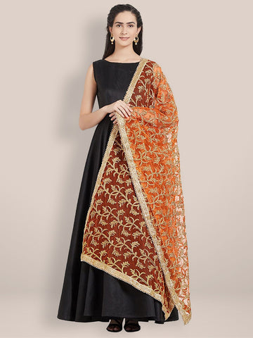 Dupatta Bazaar Woman's Orange & Gold Embroidered Net Dupatta - Dupatta Bazaar