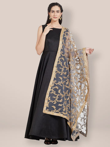 Dupatta Bazaar Woman's Grey & Gold Embroidered Net Dupatta - Dupatta Bazaar
