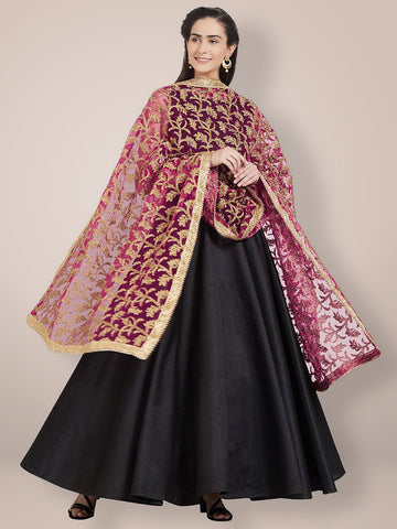 Pink & Gold Embroidered Net Dupatta