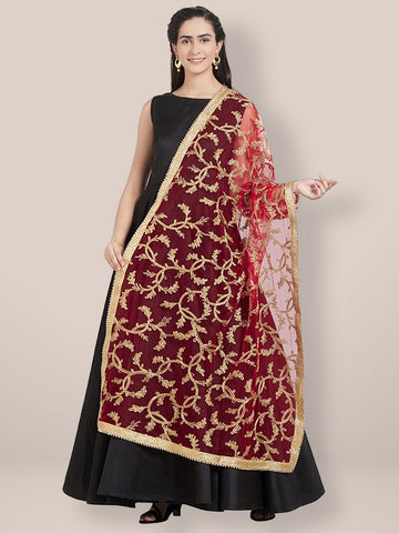 Red & Gold Embroidered Net Dupatta