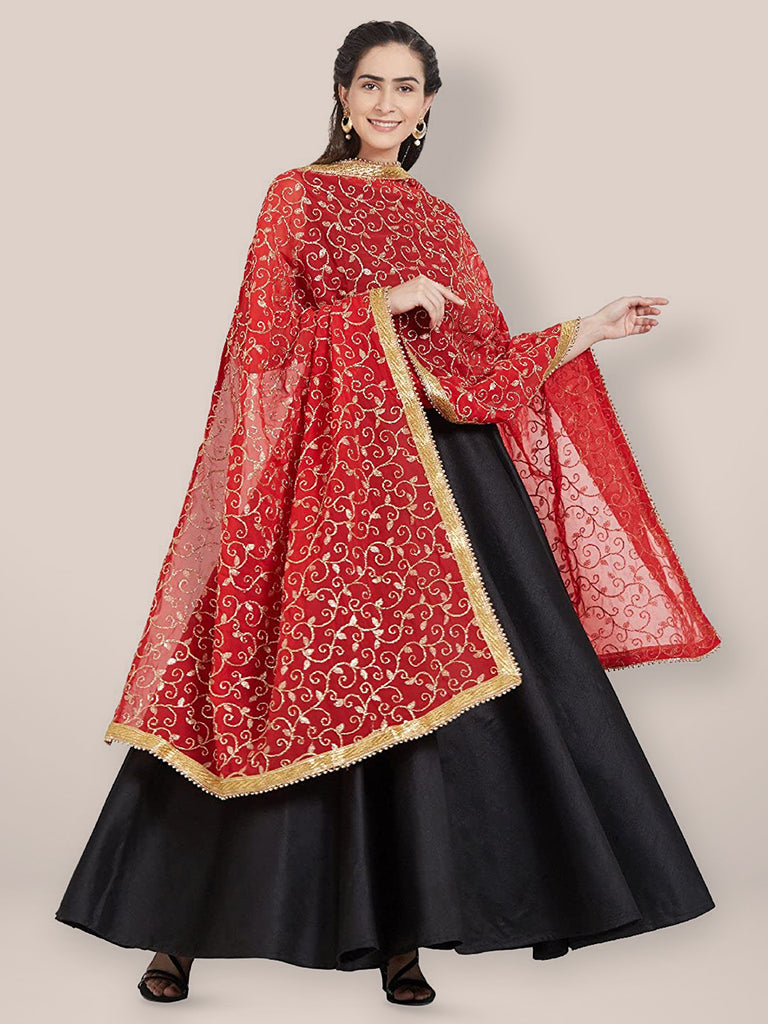 Red Embroidered Georgette Dupatta