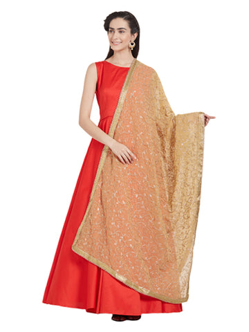 Dupatta Bazaar Woman's Gold Embroidered Georgette Dupatta - Dupatta Bazaar