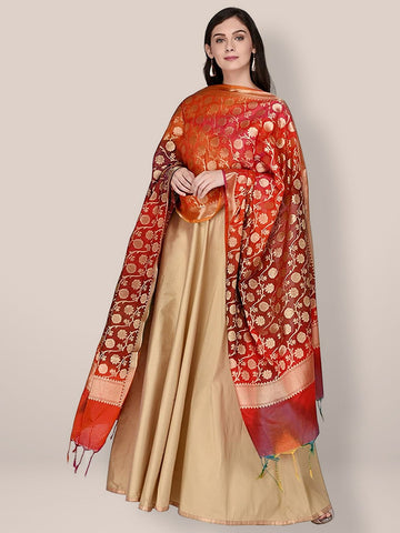 Red & Multicoloured Banarasi Silk Dupatta