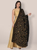 Black Chiffon Dupatta with Beige floral Embroidery
